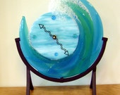 Catch a Wave Glass Clock Fused Glass Blues