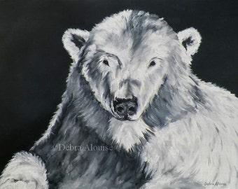 Polar Bear Original Oil Painting by California Artist Black White Abstract Wild Life