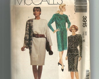 McCall's Misses' One-Piece Dress and Two Piece Dress Pattern 3915