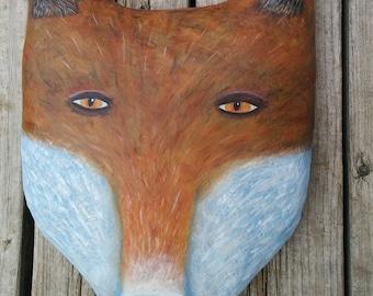 Fox Wall Sculpture, Original Art, Fox Folk Art, Whimsical Decor, Wall Hanging, Funky Art, Kids Room, Nursery Decor, Naive, Outsider Art