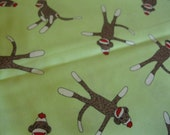 Traditionnel Sock Monkey - vert verte singes Confetti - tissu - Sock Monkey par Erin Micheal pour MODA