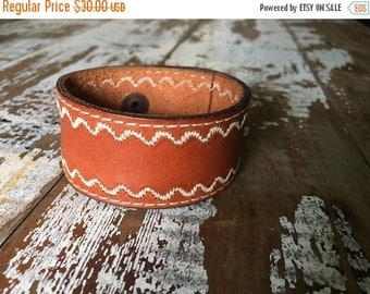 35% OFF CRAZY SALE- Custom Leather Cuff-Create Your Own-Brown Stitched Leather-Word Cuff