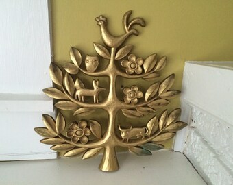 Homco Tree of Life / Vintage Folk Art / Gold / Rooster Owl Fox Bull Flowers
