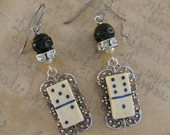 Play Around - Vintage Tiny Domino Buttons Filigree Black Pearls Niobium Recycled Repurposed Earrings