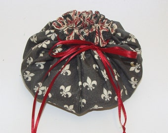 jewelry pouch travel jewelry tote drawstring bag fleur de lis ticking
