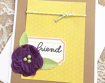 """Yellow Friend and Flower Greeting, Note Card, Thinking of You, Birthday, Just Because, Keep in Touch, Caring, Friendship - 4.25"""" x 5.5"""""""