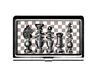 Business Card Case Chess Pieces Credit Card Holder stainless steel metal card case metal wallet board game Wife Gift for him