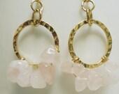 Pink Quartz Hoop Gold Earrings