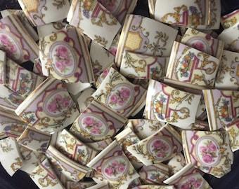 Mosaic Tiles Mix Broken Plate Art Hand Cut Pieces Supply Chintz Pink Roses  Vintage 100