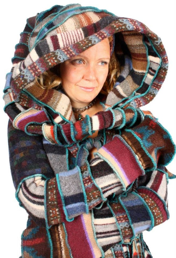 Recycled Sweater Jumper Psychedelic Patchwork CIrcus Coat