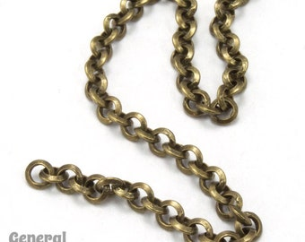 3.5mm Antique Brass Beveled Round Link Chain (10 Ft.) #CCD203