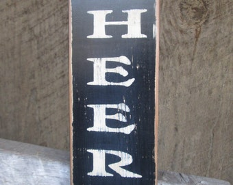 Primitive Wood Sign CHEERS Bar Decor Man Cave Rustic Cabin Country British Vertical Sign Hippie Rocker Biker