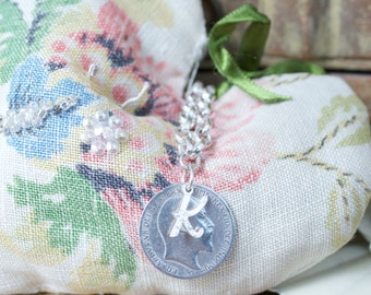 Personalised Lucky Sixpence Silver Bracelet