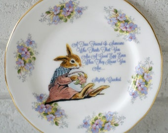A True Friend Bunny Rabbit Good Egg Ornamental Wall or Table Display Heirloom Forget-Me-Not Plate (16)