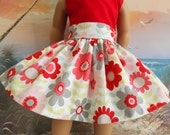 18 Inch Doll Clothes Grey Red and Pink Mod Florals Very Fully Gathered 50s Style Skirt with Waistband Medley Will Fit AG