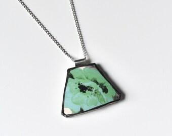 Broken China Jewelry Pendant - Green Black and White