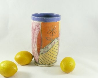 Handmade ceramic Toothbrush Holder or Tumbler  in Feather Design holds 20 ounces    Artistic Cup  or Vase 497