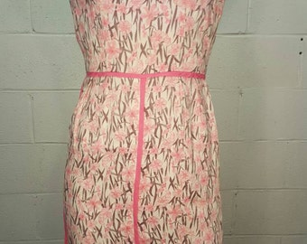 60s Pink Floral Wiggle Dress X Small XS