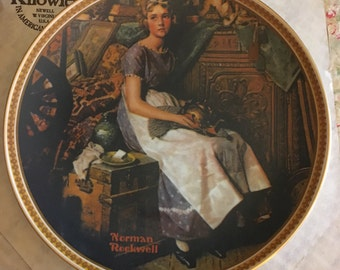 Edwin Knowles Collector Plates - Norman Rockell Rediscovered Women series #1 Dreaming in the Attic CP18