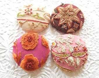 Bejeweled buttons,  embellished buttons, beaded buttons, embroidered buttons, pink buttons, fabric covered buttons, size 75 buttons