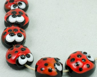 Ladybug Lampwork Glass Beads Set (6) by Annette Nilan DITS