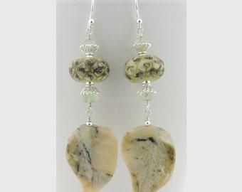 Organic leaf pale green sterling earrings cserpentDesigns african opal prehnite lampwork ivory