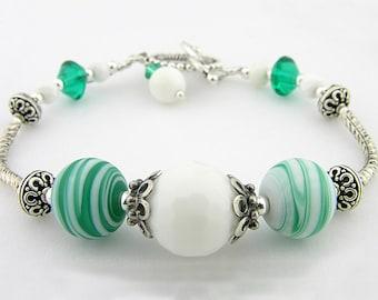 Lampwork teal green white agate sterling bracelet bangle - handmade cserpentDesigns stripes swirls