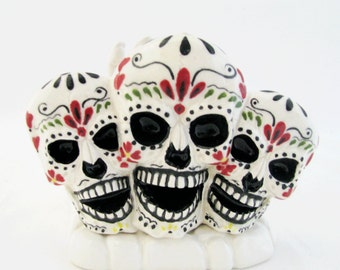 Ceramic Sugar Skulls with White Skeleton Hand Letter Holder Ceramic Napkin Holder Day of The Dead Mexican Folk Art Dia de los Muertos