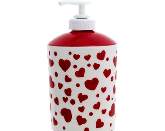 Red Valentine Heart Soap Pump Dispenser Bottle Large Size Holds 16 Ounces of Soap or Lotion