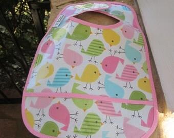 WATERPROOF BIB Wipeable Plastic Coated Baby to Toddler Bib Urban Zoology Birds