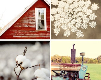 red rustic home decor, rustic photography collection, set of four prints, country cottage decor, rustic art, tractor barn photo no 1