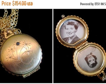 ON SALE Vintage 4 Picture Locket Necklace - Sapphire Bouquet
