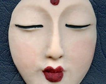 Polymer Clay Buddha Face  Cab Flesh  BDFL1