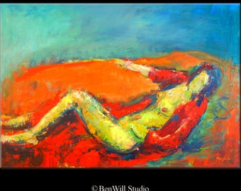 ORIGINAL Contemporary Art Painting Female Figure - 40x28 by BenWill