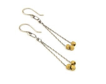 Triple Brass Nugget Earrings- brass, sterling silver