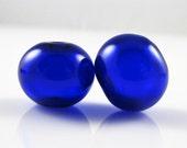 Regular Hollow SALE - Cobalt Lampwork Glass Hollow Bead Pairs