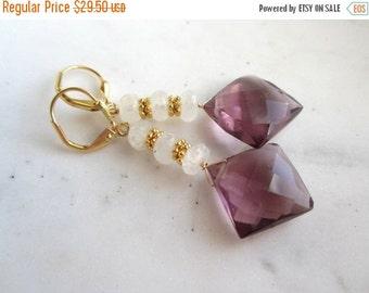 25% SALE Plum Quartz and Moonstone Earrings, Gemstone Dangle Earrings, Purple Quartz Earrings,