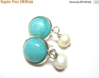 25% SALE Amazonite and Freshwater Pearl Clip On Earrings.  Gemstone Clip On Earrings. 10mm Round.