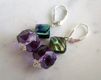 Amethyst and Abalone Earrings. Amethyst and Paua Shell Earrings. Gifts for Her.