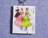Retro Kitsch Sewing Pattern Dress Gown 1950s Polymer Clay Necklace 3690