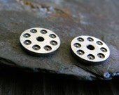 Tiny little sterling silver bead caps. Rustic dot pattern mini end. Artisan handmade flat or domed 6mm. AGB jewelry findings Ampelios