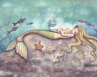Mermaid Print - Mermaid Lullaby - Mother Baby - Nursery - Fantasy Art Print by Molly Harrison 8 x 10