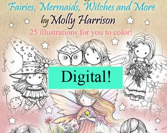 Printable Digital Download - Whimsical World Coloring Book by Molly Harriso - Sweet Fairies, Mermaids, Witches