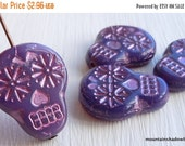 25% OFF Summer Sale Sugar Skull Beads - 20mm Milky Purple  Pink Picasso Sugar Skull Beads -  Czech Glass Beads - 4 Pack (G - 786)