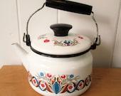 vintage enamel tea kettle pot