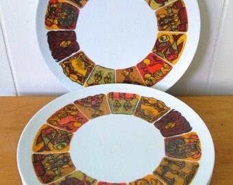 5 vintage Texas Ware Zodiac melmac dinner plates