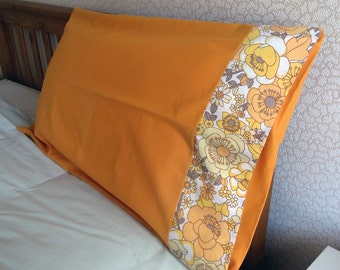 Vintage Single Pillowcase - Yellow Flowers with Brown Leaves