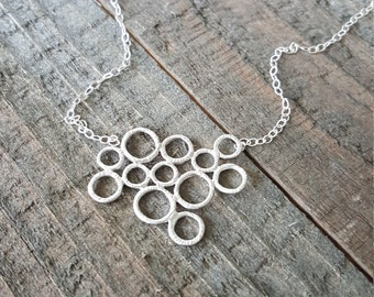 Bubbles Necklace, Bubble Pendant Necklace, Silver Necklace, Gift for Her