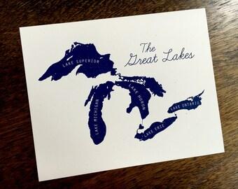 "Great Lakes Silkscreened Print - 8"" x 10"""