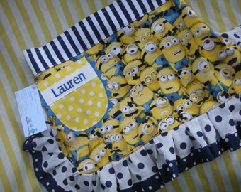 Girls Aprons - Girls Minion Aprons - Universal Despicable Me Apron - Size 6-8 Girls Aprons - Annies Attic Aprons - Monogrammed Girls Aprons